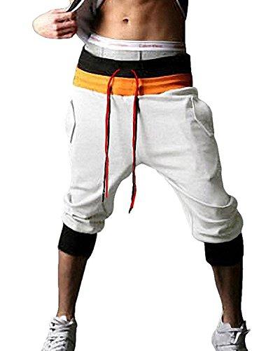 Minetom Herren 3/4 Haremshose Fitnesshose Trainingshose Sporthose Freizeithose Dance Hip Hop Trousers Baggy Jogging Harem Sweat Hosen ( Weiß UK M / EU M )