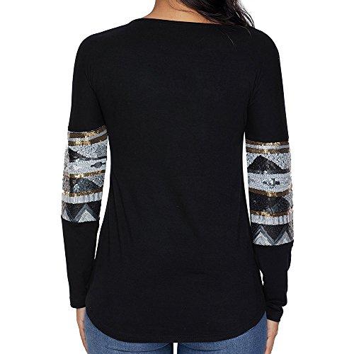LRUD Damen Langarmshirts Pailletten Deer Design Beiläufig Lose Rundhalsausschnitt Sweatshirt Blusen T-Shirt Schwarz