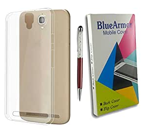 BlueArmor Soft Silicone Back Cover Case For iBall Andi 4.5C Magnifico Transparent And Solitaire Crystals Stylus