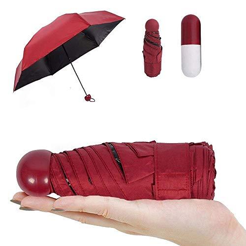 Pawaca Ultra Luces y Pequeñas Viajar Anti-UV Mini Plegable Paraguas con la Caja linda creativa de la Cápsula, 5 Doblar Compacto Bolsillo Sombrilla Paraguas para Mujeres Niñas Niños
