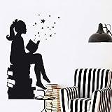 【mzdzhp】【Kann angepasst werden, Größe, Farbe, DIY-Muster】Große Mädchen Lesen Bücher Magic - Wall Decal Vinyl Art Aufkleber Für Innenräume, Schulen, Klassenzimmer, Bibliotheken, Schlafzimmer 58X90cm