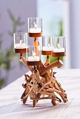 """Weltbild Teelichthalter \""""Treibholz\"""" - Design Kerzenständer aus Holz, Metall und Glas, rustikaler Kerzenleuchter, Deko Kerzenhalter für Teelichter und Kerzen, 18,5 x 30 x 18,5 cm"""
