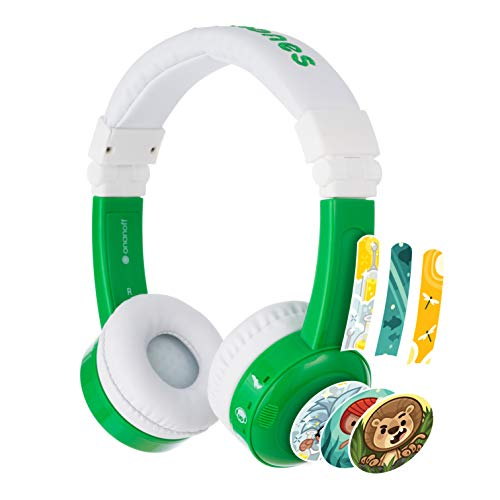 BuddyPhones InFlight, Cuffie per bambini con controllo volume, 3 valori volume: 75, 85 e 94 dB, Modalità viaggio, Ideali in aereo, treno e auto, Cavo di condivisione audio e mic integrato, Verde