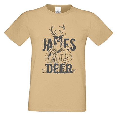 James Deer ::: Sprüche-Fun-Hirsch-T-Shirt für Herren Freizeit Volksfest Oktoberfest Tracht Outfit - Geschenk Männer Farbe: sand Sand