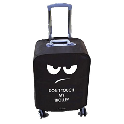 Coprivaligia per trolley con scritta simpatica marrone DON'T TOUCH MY TROLLEY (S (56X39X25))