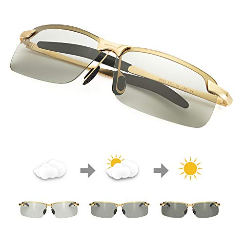 TJUTR Polarisierte Sonnenbrille Herren Photochromatisch Sports für100% UVA UVB Schutz Metallrahmen Leicht (Gold(sport)/Grau)