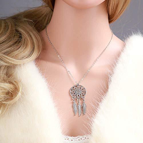 Jovono - Collar bohemio con colgante de atrapasueños de plata para cumpleaños, amistad, joyas, día de la madre, regalo
