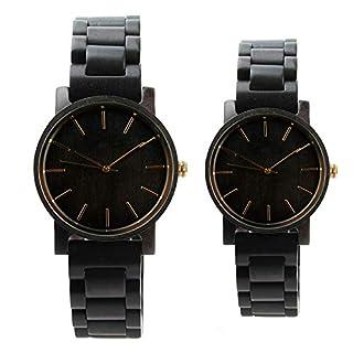 SailorMJY Herren- und Damenuhren aus Holz Ebenholz Quarz Uhren Klassische Casual Uhren Geschenk Holzuhren Paar Holzgurte