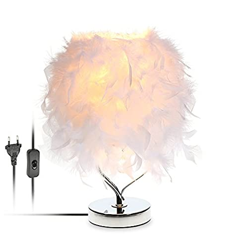 Lixada Feather Table Desk Light Heart Shape Crystal Bedside Lamp