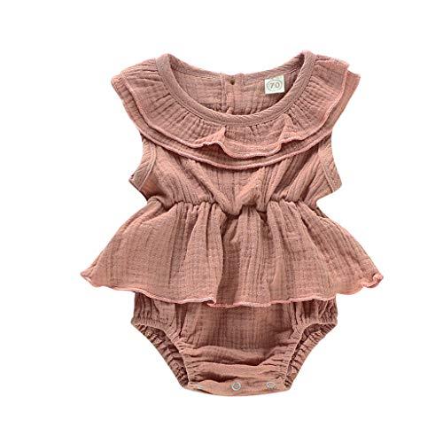 LEXUPE Neugeborenes Baby Mädchen ärmellose Feste Strampler Bodysuit Kleidung Outfits(Braun,70)