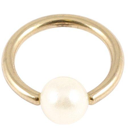 Acrílico perlas zircon BCR de acero. Color Dorado PVD. Calibre de 1,2mm, 6mm Diámetro interno. Anillo de cierre de bola.