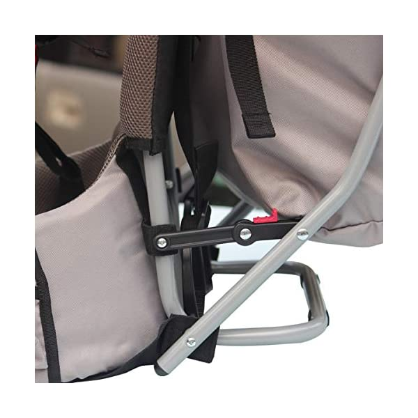 Baby Toddler Hiking Backpack Carrier w/Stand Child Kid Sunshade Shield XTLSTORE 【SAFELY AND COMFORTABLY】Your child will be carried safely in his comfortable seat with safety straps and stirrups. The Baby Backpack also has a removable sunshade that shields your little one from the elements. 【MULTIPLE POCKETS】Featuring multiple pockets, there are mesh pockets on the outer surfaces and extra a large pocket on the back to keep your wallet, cellphone, snacks, diapers and necessities. The carrier has pockets on both sides for your keys and water bottle also. 【ADJUSTABLE&FOLDABLE】Comfortable to carry and ride with thick pads and adjustable system to provide a comfortable fit for you and your child. Metal stands allow it to sit upright on a flat surface and can be quickly folded in when on the go. It can be folded by lifting the latch when not in use. 5