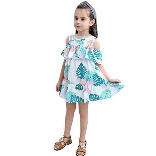 Innerternet Baby Mädchen Blumendruck Prinzessin Kleid, Sommerkleid Blätter Print Beachwear Prinzessin Kleid Partykleid
