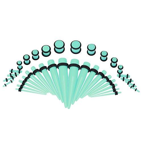 GLOGLOW Ohr Gauge Dehnen Kit Taper Set mit Stecker Doppel O-Ringe 1400G Acryl Ohr Dehnen Kit Läuft Stecker Tunnels Messgeräten, Expander Piercing Set Lichtgrün