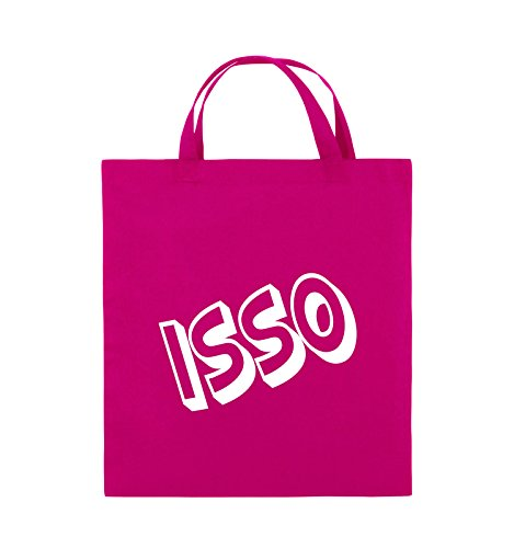 Comedy Bags - ISSO - COMIC SCHIEF - Jutebeutel - kurze Henkel - 38x42cm - Farbe: Schwarz / Silber Pink / Weiss
