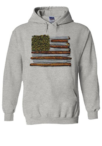 American Womens Light T-shirt (PatPat Store Weed American Flag High Drug Novelty Grey Men Women Unisex Hooded Sweatshirt Hoodie-L)