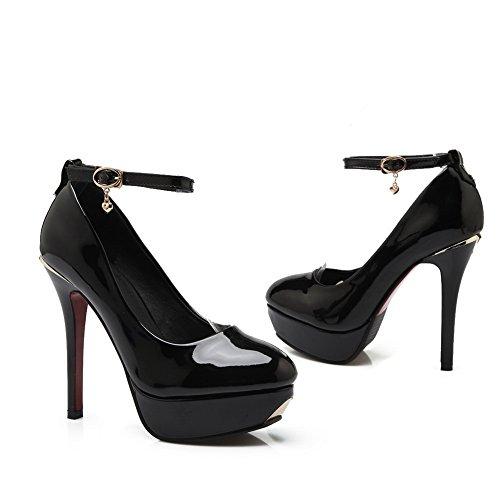 Fibbia Di Pompa Pelle Verniciata shoes In Balamasa Metallo Nera Catena Donne 6qwwdO1