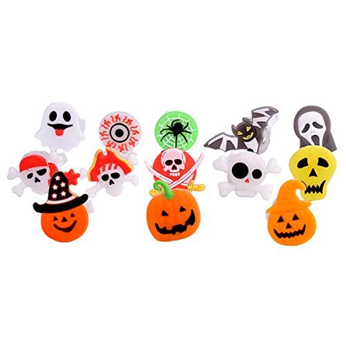 Amosfun 10 Stücke Halloween Party Favors LED Flash Ringe Halloween LED Ring Leucht Flash Fingerring Spielzeug Kreative Kürbis Ringe Halloween Party Leckereien, zufällig