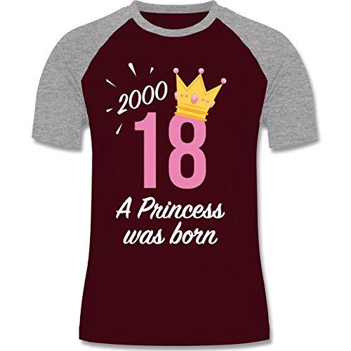 Shirtracer Geburtstag - 18 Geburtstag Mädchen Princess - Herren Baseball Shirt Burgundrot/Grau meliert
