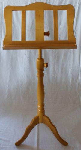 CHESTER Holz-Notenpult aus Ahorn buchenfarbig mit praktischer Notenklammer -- geschwungener...