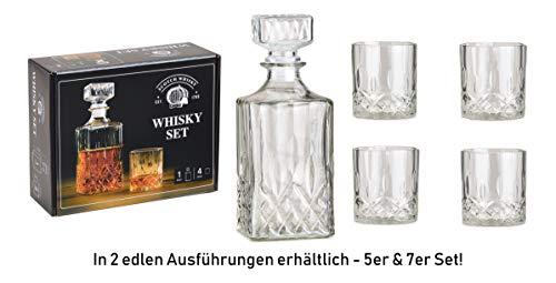 Whisky Dekanter-sets (WOMA - Whiskey Karaffe Set - 5er & 7er Set - Whisky Gläser + Kristall Karaffe für den vorzüglichen Genuss - 4 Scotch Whiskygläser [285 ml] + 1 Whisky Karaffe/Dekanter [900ml] aus Glas mit Deckel)