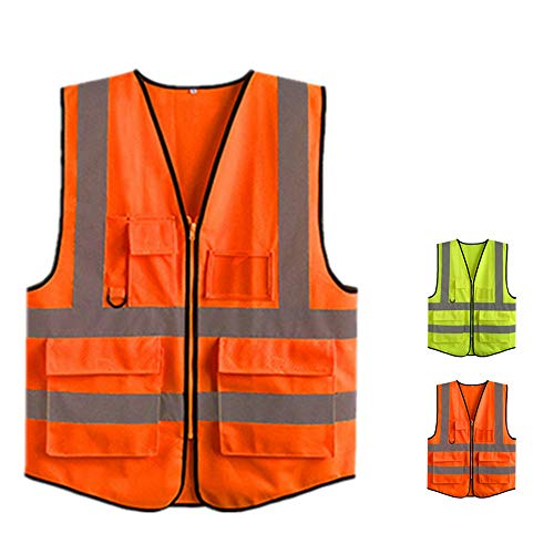 GSCshoe Arbeitsschutzwesten für Männer und Frauen Reflektierende Sicherheitsjacke, gelbe Warnschutzweste Warnweste mit reflektierenden...