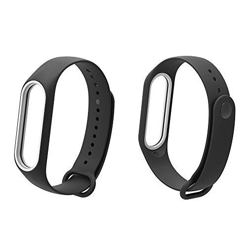 YBWZH Weiche TPE-Silikon-Ersatz-Sport-Armband-Bügel-Armband für Xiao Mi Band 3 Silikonband Armband Premium Uhrenarmband(Schwarz)