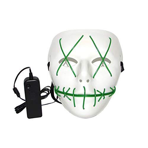 aske LED Licht Leuchtende Linie Beleuchten Horror Scary Lustige Grimasse Teufel Party Cosplay Maske Kopfbedeckung füR Halloween, Karneval, Maskerade Party, Spannende Party size 18cm*17cm (Grün) ()