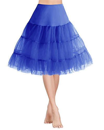 Gardenwed Damen Vintage 1950er Rockabilly kleid Mini Tutu Retro Petticoat Unterrock Royal Blue XL (Tutu Länge)