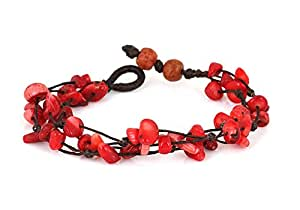 MGD, Red Coral Color Bead Bracelet, 2-strand. Beautiful Handmade Stone Wrap Bracelet made from wax cord. Fashion Jewelry for Women, Teens and Girls, JB-0064