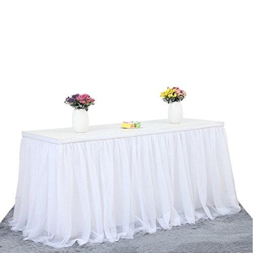 Gonna da tavolo in tulle per battesimo decorazioni, matrimonio, banchetto, decorazione casalinga, feste di Natale White