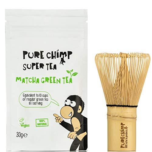Kit Básico Matcha y Batidor/Set de Té PureChimp Matcha - Batidor de Bambú Japonés Tradicional + 30g Té Verde Matcha Premium - Libre de Pesticidas