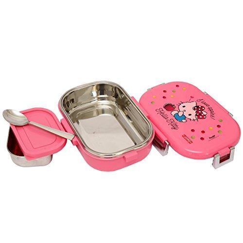 Jaypee Plus Missteel Hello Kitty Plastic Lunch Box Set, 700ml, 3-Pieces, Pink