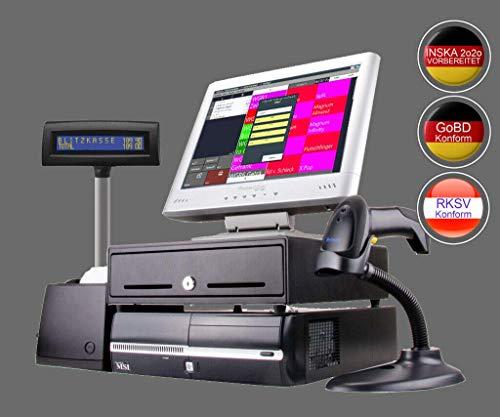 """15"""" SCANNERKASSE für Handel, Laden, Kiosk, Imbiss (gebraucht): Touschscreen Kasse, Bondrucker, Barcodescanner, Kundenanzeige, Kassenlade. GDPdU, GoBD, INSIKA"""