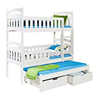 Triple Bunk Bed DOMI 3 Assembly for Free! Modern Trundle High Sleeper Mattresses Drawers Ladder 3 Children Pine Wood FAST DELIVERY (White, Right-Hand Side)