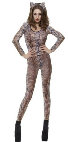 Zebra, Tiger Camo Dance Lace Bodystocking Catsuit Fancy Dress (Tiger Dance Kostüme)