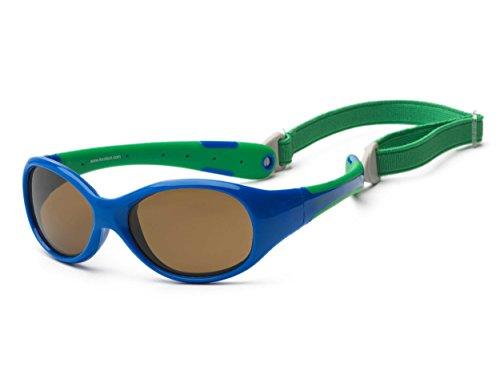 Koolsun Baby-Sonnenbrille Flex Jungen 0-3 Jahre | Royal & Green |100% UV Schutz | Mit abnehmbarem Kopfband | Optical Clas 1, Cat. 3