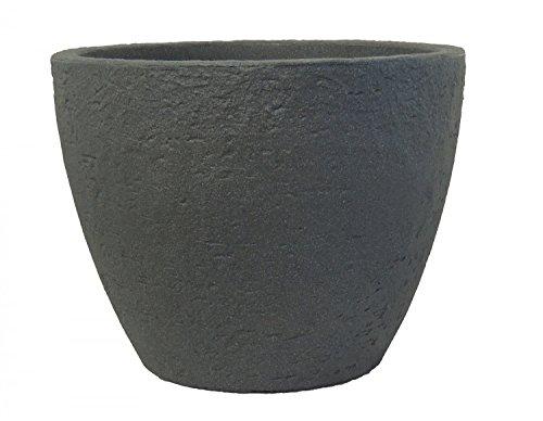 Pflanzkübel Stone rund aus Kunststoff Steinoptik , Farbe:anthrazit, Durchmesser:60 cm