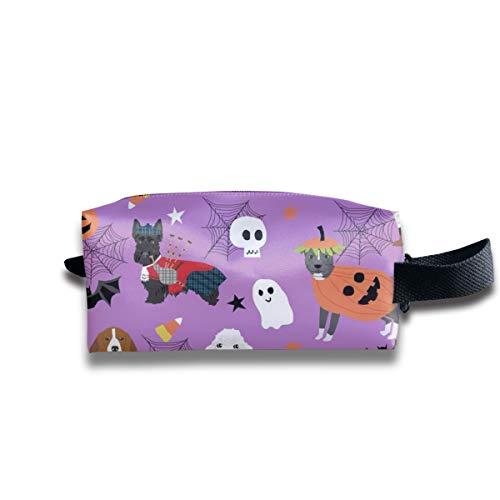 Hunde in Halloween-Kostümen - Hunderassen gekleidet Stoff - Purple_232 Tragbare Reise-Make-up Kosmetiktaschen Organizer Multifunktions Fall Taschen für ()