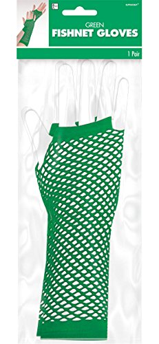 Green School Color Fishnet Gloves by Team - School Spirit Kostüm