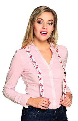 Boland 00574 Hosenträger Flamingo, Weiß/Rosa, Breite 2,5 cm (Flamingo Hosenträger)