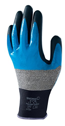 Showa 376RXL 13gauge in poliestere/nylon backing Fabric multiuso con rivestimento in nitrile, palmo in nitrile, XL, blu