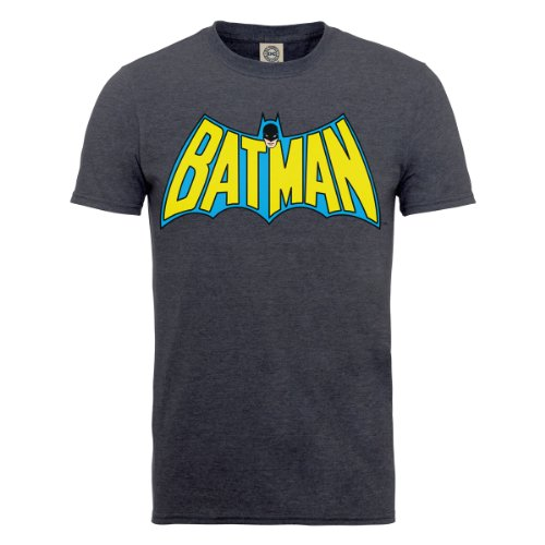 DC Comics Herren, T-Shirt, DC0001141 DC Comics Official Batman Retro Logo, Grau (Dark Heather), XL (Dc-shirt Grau)