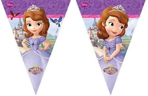 1 Wimpelkette * SOFIA THE FIRST * für Party und Geburtstag // Kindergeburtstag Kinder Feier Fete Set Banner Girlande Partykette Banner Deko Moto Prinzessin Princess Disney (1. Princess Geburtstag Disney)