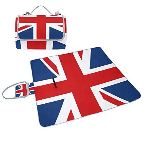 COOSUN UK Britische Flagge Picknick Decke Tote Handlich Matte Mehltau resistent und wasserfest Camping Matte für Picknicks, Strände, Wandern, Reisen, Rving und Ausflüge