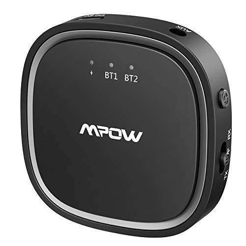 Mpow Bluetooth Transmitter Empfänger, 2 in 1 Bluetooth Adapter mit Optischem Toslink / SPDIF und aptX Niedrige Latenz / aptX HD, 3,5mm AUX, 15m Reichweite, Dual Link für TV, PC, CD Player, MP3 usw (Rca 5 Cd-player)
