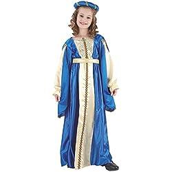 Eurocarnavales Disfraz de niña Princess Azula Vestido Dorado/Azul Señora de la Corte Medieval