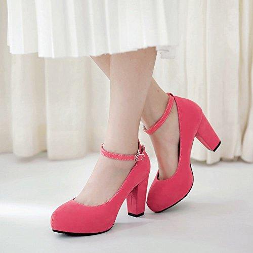 MissSaSa Donna Scarpe col Tacco Alto Nubuck Dolce e Elegante colore3(cocomela rosa)