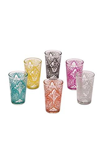 Copas de té decoradas orientales Set 6 copas Hadia multicolor claro - Cristales de té marroquí 6 colores decoración oriental - 6 x vasos de té de Marruecos Oriental decorado - diferentes modelos