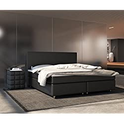 DELIFE Bett Cloud Schwarz 140x200 cm Matratze und Topper Federkern Boxspringbett